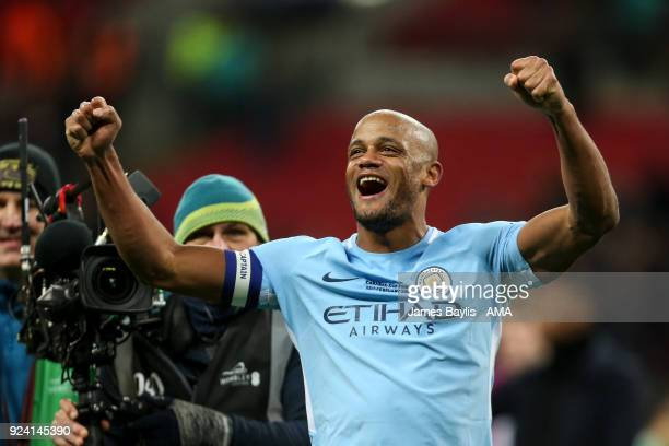 Vincent Kompany of Manchester City celebrates at full time during the Carabao Cup Final match between Arsenal and Manchester City at Wembley Stadium...