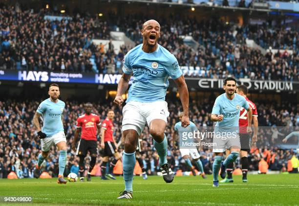 Vincent Kompany of Manchester City celebrates scoring his side's first goal during the Premier League match between Manchester City and Manchester...