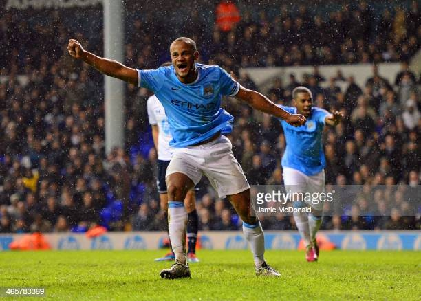 Vincent Kompany of Manchester City celebrates scoring their fifth goal during the Barclays Premier League match between Tottenham Hotspur and...