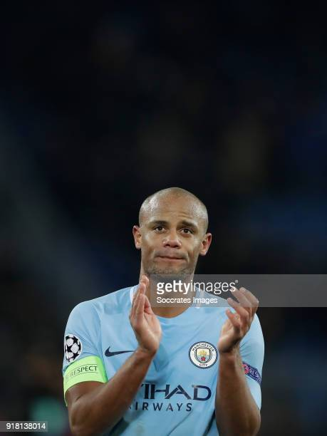 Vincent Kompany of Manchester City celebrates the victory during the UEFA Champions League match between Fc Basel v Manchester City at the St...