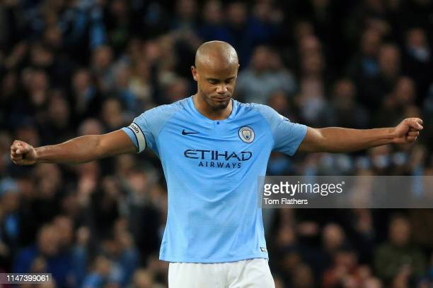Vincent Kompany of Manchester City celebrates victory after the Premier League match between Manchester City and Leicester City at Etihad Stadium on...