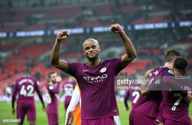 Vincent Kompany of Manchester City celebrates victory after the Premier League match between Tottenham Hotspur and Manchester City at Wembley Stadium...