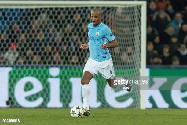 Vincent Kompany of Manchester City controls the ball during the UEFA Champions League Round of 16 First Leg match between FC Basel and Manchester...