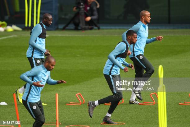 Vincent Kompany of Manchester City during a Press Conference and Training Session at Manchester City Football Academy on April 9 2018 in Manchester...
