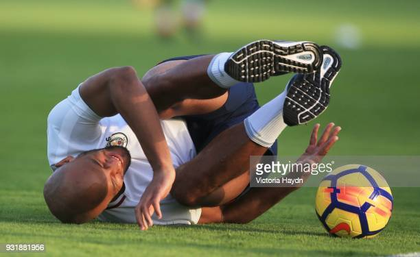 Vincent Kompany of Manchester City during the Abu Dhabi Warm Weather Training Camp on March 13 2018 in Abu Dhabi United Arab Emirates