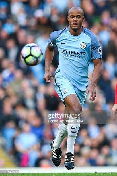 Vincent Kompany of Manchester City during the Premier League match between Manchester City and Southampton at Etihad Stadium on October 23 2016 in...