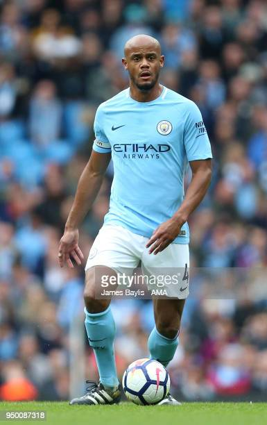Vincent Kompany of Manchester City during the Premier League match between Manchester City and Swansea City at Etihad Stadium on April 22 2018 in...