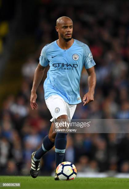 Vincent Kompany of Manchester City during the Premier League match between Manchester City and Brighton and Hove Albion at Etihad Stadium on May 9,...