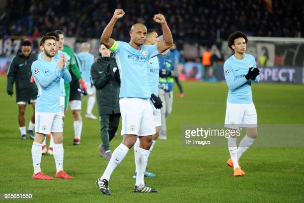Vincent Kompany of Manchester City gestures during the UEFA Champions League Round of 16 First Leg match between FC Basel and Manchester City at St...