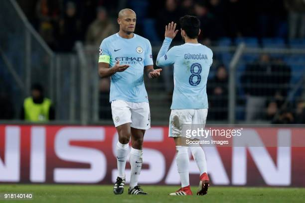 Vincent Kompany of Manchester City Ilkay Gundogan of Manchester City celebrate the victory during the UEFA Champions League match between Fc Basel v...