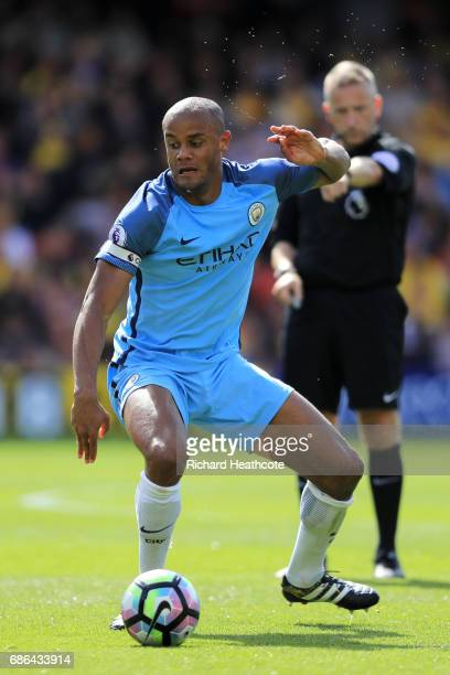 Vincent Kompany of Manchester City in action during the Premier League match between Watford and Manchester City at Vicarage Road on May 21 2017 in...