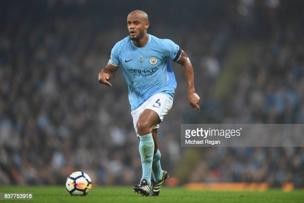 Vincent Kompany of Manchester City in action during the Premier League match between Manchester City and Everton at Etihad Stadium on August 21 2017...