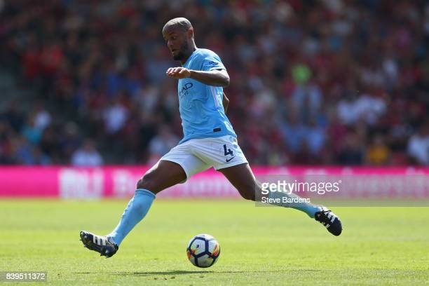 Vincent Kompany of Manchester City in action during the Premier League match between AFC Bournemouth and Manchester City at Vitality Stadium on...