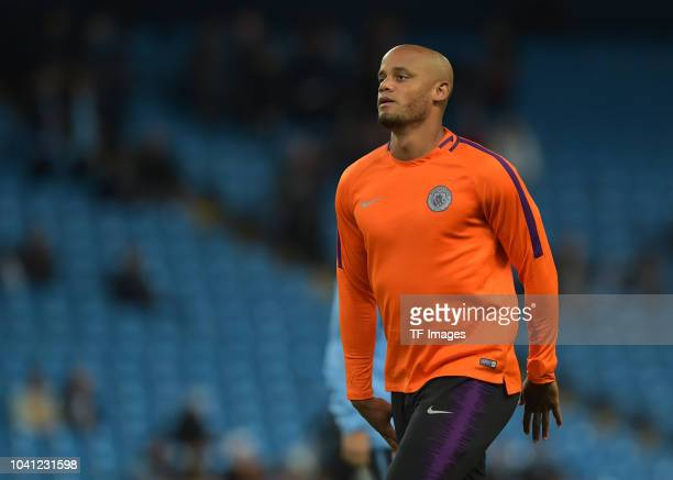 Vincent Kompany of Manchester City looks on prior to the UEFA Champions League Group F match between Manchester City and Olympique Lyonnais at Etihad...