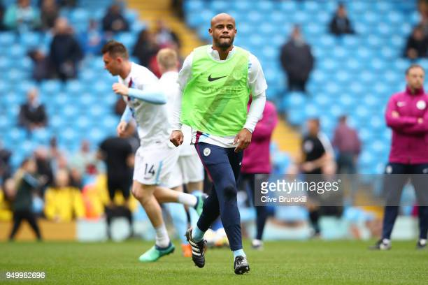 Vincent Kompany of Manchester City of warms up during the Premier League match between Manchester City and Swansea City at Etihad Stadium on April 22...