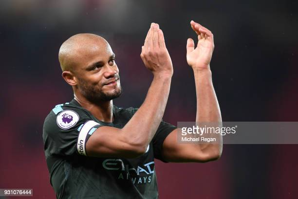 Vincent Kompany of Manchester City salutes the travelling fans after the Premier League match between Stoke City and Manchester City at Bet365...