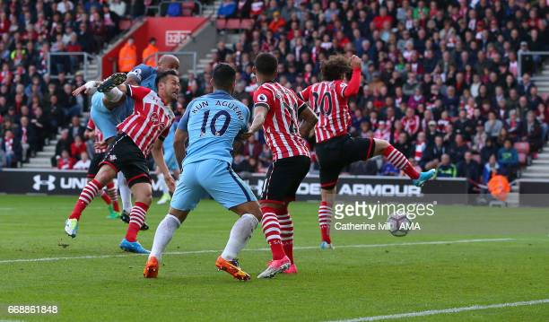 Vincent Kompany of Manchester City score a goal got make it 01 during the Premier League match between Southampton and Manchester City at St Mary's...