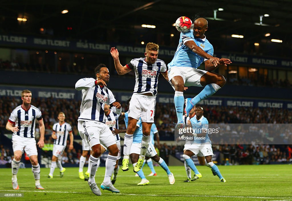 Vincent Kompany of Manchester City scores their third goal during the Barclays Premier League match between West Bromwich Albion and Manchester City at The Hawthorns on August 10, 2015 in West Bromwich, England.