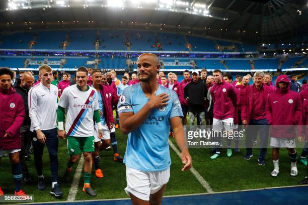 Vincent Kompany of Manchester City shows appreciation to the fans during a lap of honour after the Premier League match between Manchester City and...