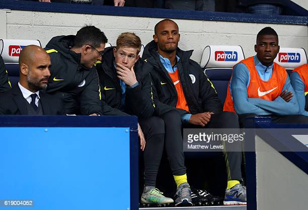 Vincent Kompany of Manchester City takes his seat on the bench during the Premier League match between West Bromwich Albion and Manchester City at...