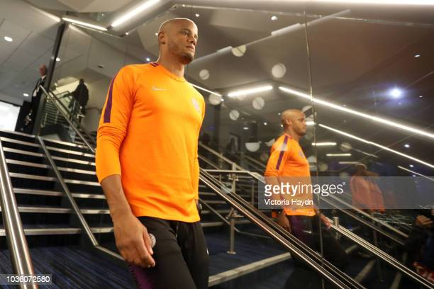 Vincent Kompany of Manchester City walks through the tunnel prior to the Group F match of the UEFA Champions League between Manchester City and...