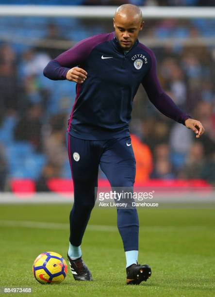Vincent Kompany of Manchester City warms up prior to the Premier League match between Manchester City and West Ham United at Etihad Stadium on...