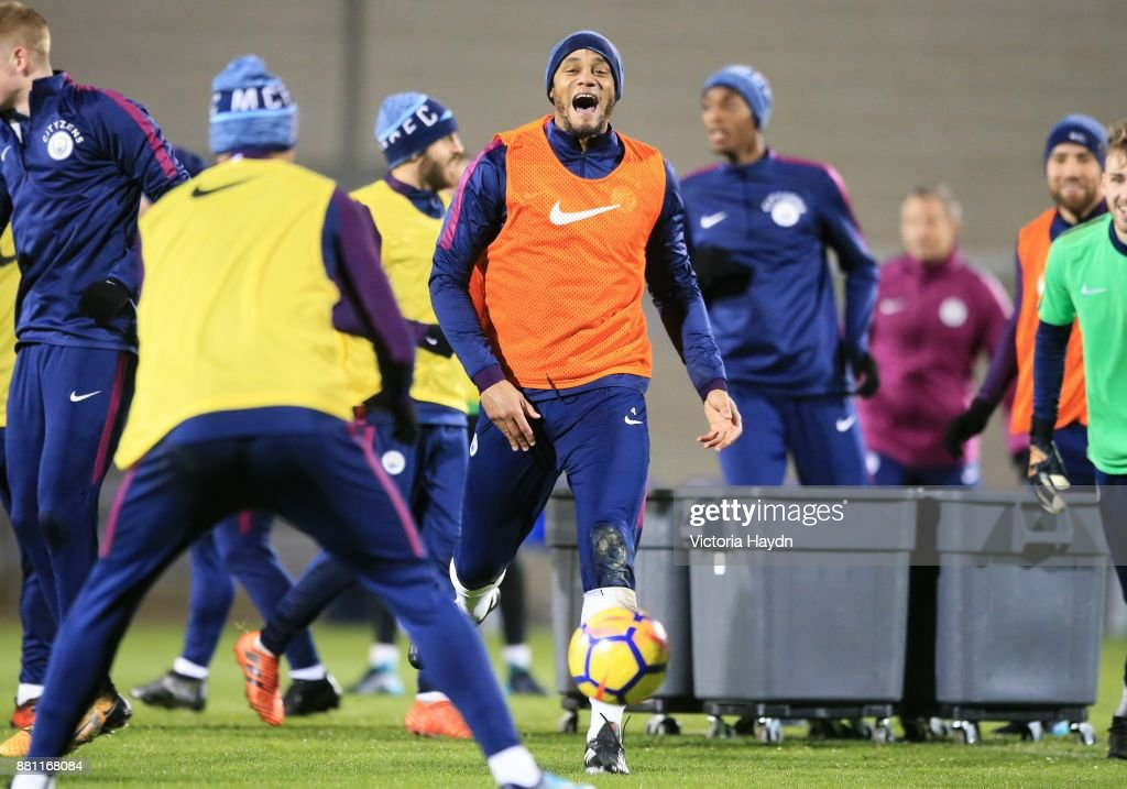Vincent Kompany reacts during training at Manchester City Football Academy on November 28, 2017 in Manchester, England.