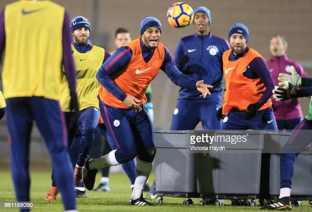 Vincent Kompany reacts during training at Manchester City Football Academy on November 28 2017 in Manchester England