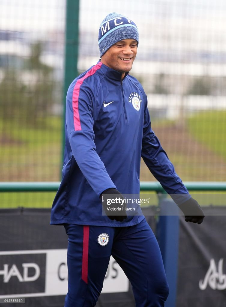 Vincent Kompany reacts during training at Manchester City Football Academy on February 8, 2018 in Manchester, England.