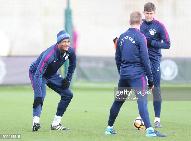 Vincent Kompany reacts during training at Manchester City Football Academy on February 17 2018 in Manchester England