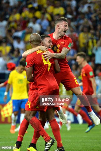 Vincent Kompany Thomas Vermaelen and Toby Alderweireld celebrate after winning the 2018 FIFA World Cup Russia Quarter Final match between Brazil and...