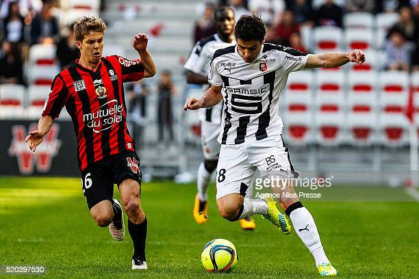 Vincent Koziello of OGC Nice and Yoann Gourcuff of Stade Rennais FC during the French League 1 match between OGC Nice and Stade Rennes at Allianz...