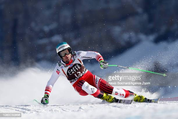 Vincent Kriechmayr of Austria competes during the Audi FIS Alpine Ski World Cup Men's Downhill Training on January 16 2019 in Wengen Switzerland