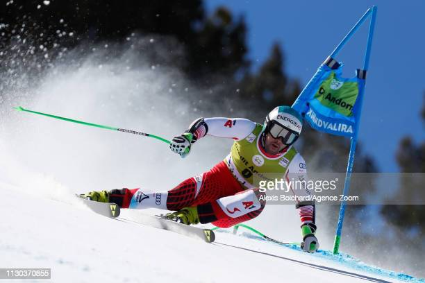 Vincent Kriechmayr of Austria competes during the Audi FIS Alpine Ski World Cup Men's and Women's Super G on March 14, 2019 in Soldeu Andorra.