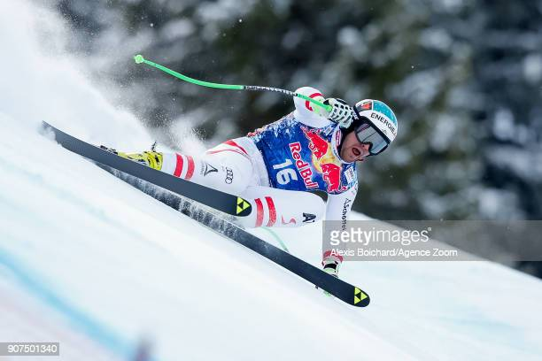 Vincent Kriechmayr of Austria competes during the Audi FIS Alpine Ski World Cup Men's Downhill on January 20 2018 in Kitzbuehel Austria