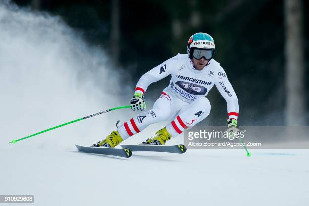 Vincent Kriechmayr of Austria competes during the Audi FIS Alpine Ski World Cup Men's Downhill on January 27 2018 in GarmischPartenkirchen Germany