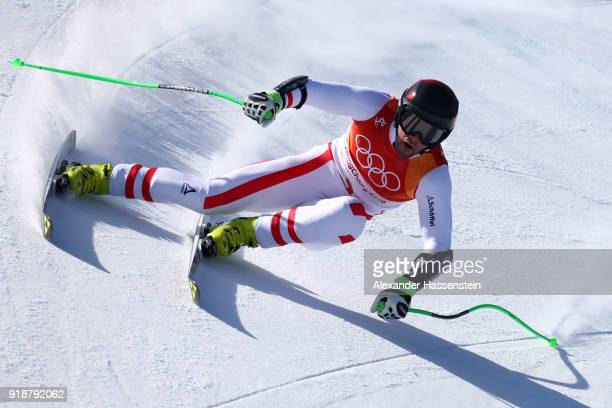 Vincent Kriechmayr of Austria competes during the Men's SuperG on day seven of the PyeongChang 2018 Winter Olympic Games at Jeongseon Alpine Centre...