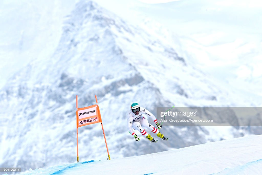 Vincent Kriechmayr of Austria in action during the Audi FIS Alpine Ski World Cup Men's Combined on January 12, 2018 in Wengen, Switzerland.