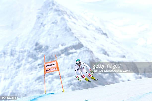 Vincent Kriechmayr of Austria in action during the Audi FIS Alpine Ski World Cup Men's Combined on January 12 2018 in Wengen Switzerland