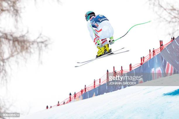 Vincent Kriechmayr of Austria performs during a training session of the FIS Alpine World Cup Men's downhill event in Kitzbuehel Austria on January 18...
