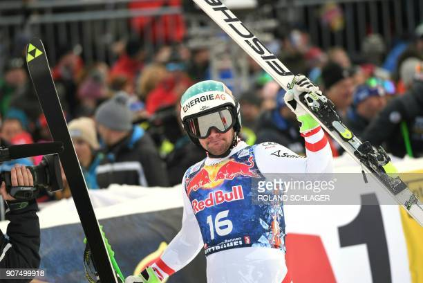 Vincent Kriechmayr of Austria reacts after competing in the men's downhill event at the FIS Alpine World Cup in Kitzbuehel Austria on January 20 2018...