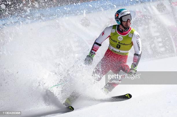 Vincent Kriechmayr of Austria Ski Team during Mens SuperG Audi FIS Ski World Cup race on March 14 2019 in El Tarter Andorra