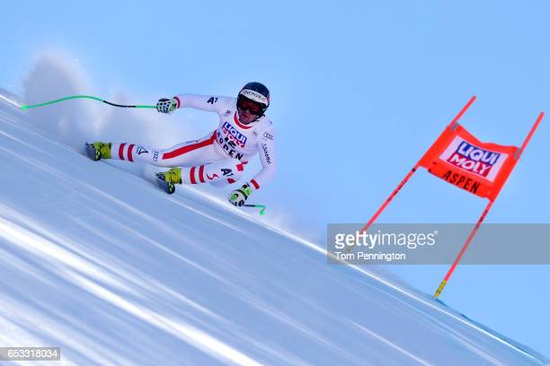 Vincent Kriechmayr of Austria skis during a training run for the men's downhill at the Audi FIS Ski World Cup Finals at Aspen Mountain on March 14,...