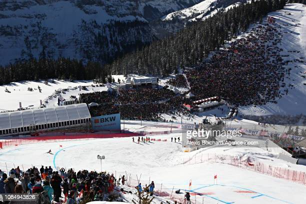 Vincent Kriechmayr of Austria takes 1st place during the Audi FIS Alpine Ski World Cup Men's Downhill on January 19 2019 in Wengen Switzerland
