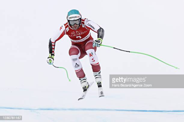 Vincent Kriechmayr of Austria takes 1st place during the Audi FIS Alpine Ski World Cup Men's Super G on January 25, 2021 in Kitzbuehel Austria.