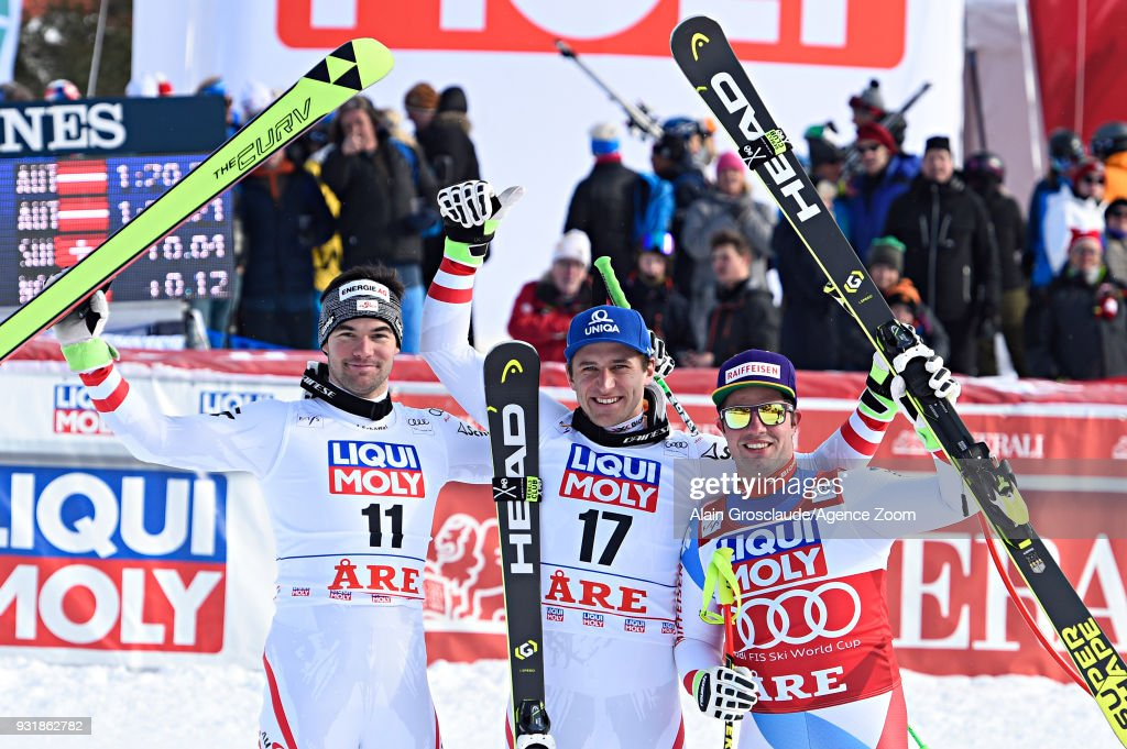Vincent Kriechmayr of Austria takes 1st place, Matthias Mayer of Austria takes 1st place, Beat Feuz of Switzerland takes 2nd place during the Audi FIS Alpine Ski World Cup Finals Men's and Women's Downhill on March 14, 2018 in Are, Sweden.