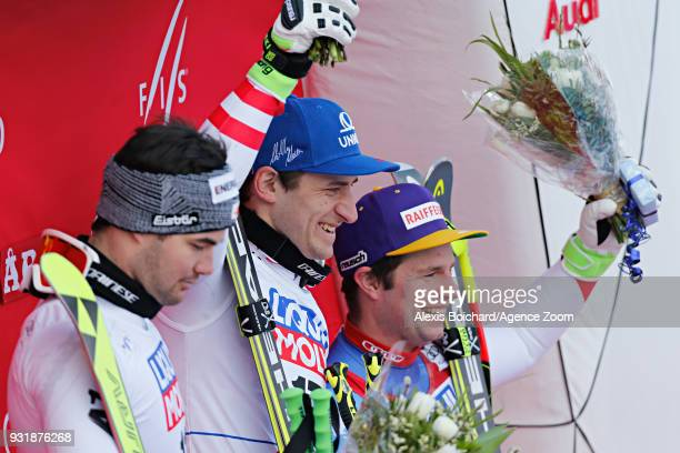 Vincent Kriechmayr of Austria takes 1st place Matthias Mayer of Austria takes 1st place Beat Feuz of Switzerland takes 2nd place during the Audi FIS...
