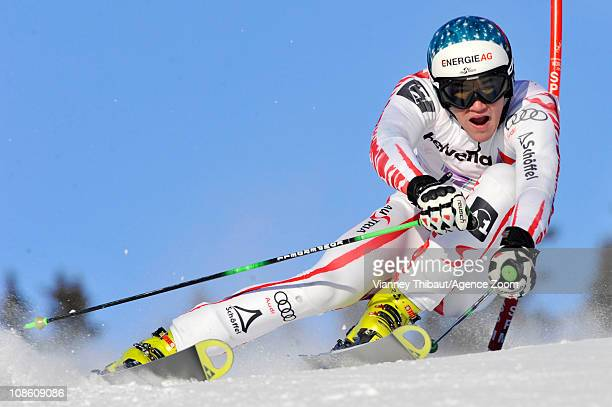 Vincent Kriechmayr of Austria takes 2nd place during the FIS Junior World Ski Championship Men's Giant Slalom on January 30, 2011 in Crans,...