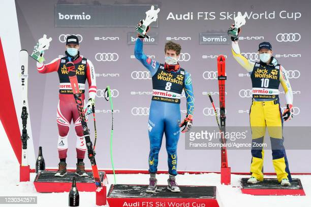 Vincent Kriechmayr of Austria takes 2nd place, Ryan Cochran-siegle of USA takes 1st place, Adrian Smiseth Sejersted of Norway takes 3rd place during...