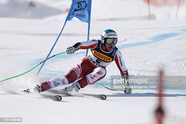 Vincent Kriechmayr of Austria wins the gold medal during the FIS Alpine Ski World Championships Men's Super Giant Slalom on February 11, 2021 in...